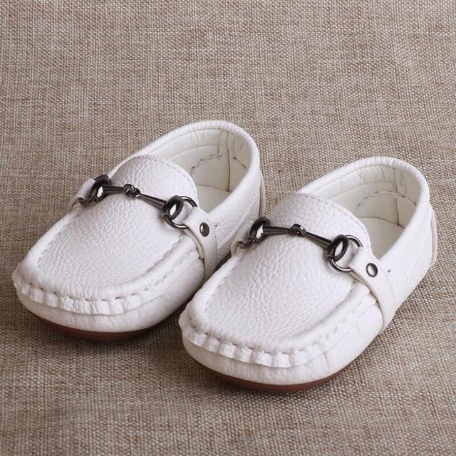 SKHEK Autumn Boys Microfiber Leather Casual Loafers Baby/Toddler/Little Kid Black White Flats Children School Uniform Dress Shoe