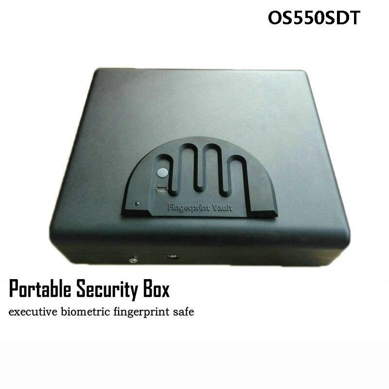 Portable Boîte De Sécurité D'empreintes Digitales et Serrure à Clé 2 dans 1 Un Coffre-Fort Pour Les Objets de valeur de L'argent Bijoux Pistolet De Rangement Coffre de Voiture OS550SDT