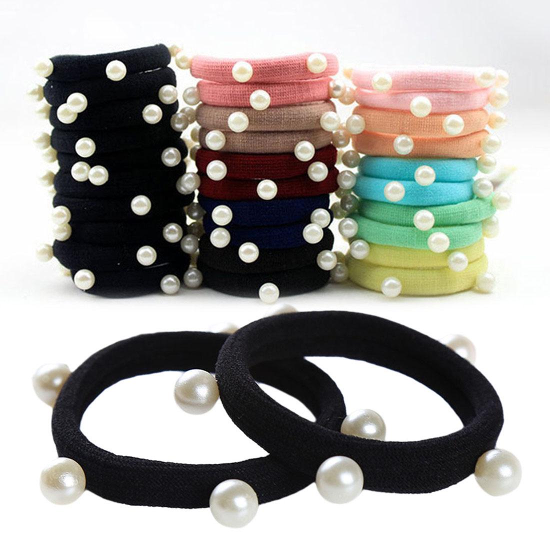 Women Girls' 10/20pcs Pearl Rubber Bands Elastics   Headwear   Seamless Gum Hair Hairbands Hair Accessories Rubberbands