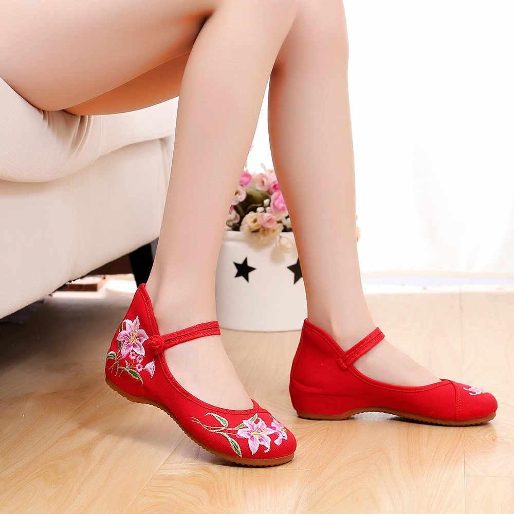 Veowalk ดอกไม้เย็บปักถักร้อยผู้หญิงผ้าใบ Instep Strap Ballet Flats รองเท้าผู้หญิงสบายๆฝ้ายปักมังสวิรัติ Ballerina รองเท้า