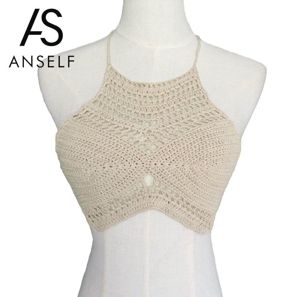 Online Shop Blusas Sexy Crochet Bikini Top Vintage Boho Bralette ...