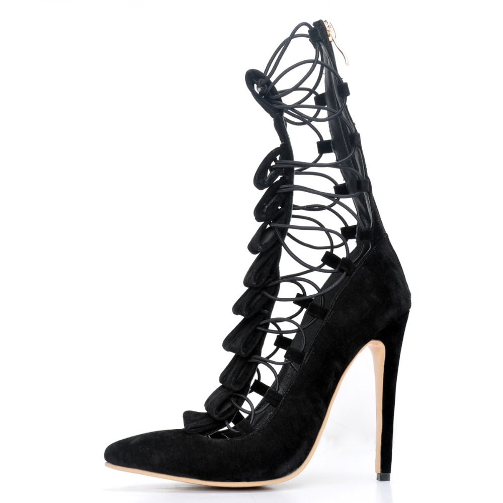 ФОТО New Stylish Women Sandals Pointed Toe Thin Heels Sandals Fashion Black Shoes Woman Plus US Size 4-15