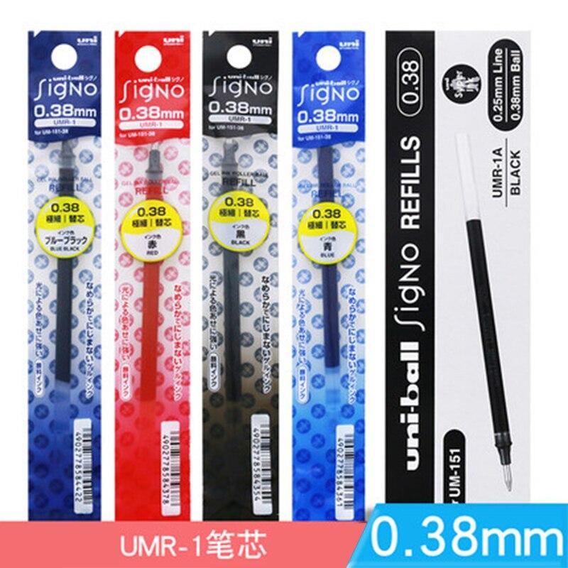12 Pcs/Lot Mitsubishi Uni UMR-1-Ball Signo Refill For UM-151 Retractable Gel Ink Pen 0.38 Mm Gel Pens Writing Supplies