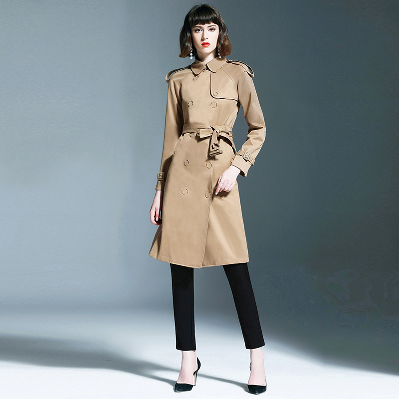 New arrival england style women's Trench coat 2019 Fall runways elegant belt windbreaker coat women Wind coat A623