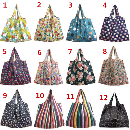 New Lady Foldable Recycle Shopping Bag Eco Reusable Shopping Tote Bag Cartoon Floral Fruit Vegetable Grocery