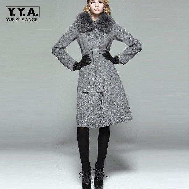 Itália Marca Top Gola de Pele De Raposa Das Mulheres Quente Casaco De Lã Com Cinto Slim Fit Senhora Elegante Casaco de Inverno de Alta Qualidade Fêmea outerwear