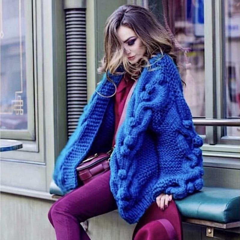 Femmes Thich Avertir V Hiver Vêtements Blue gray Main Jumper Femme Chandail Couleur red green Multi 2018 Tricoté Cou Manches Long Cardigans Mode Puff qEYH5w