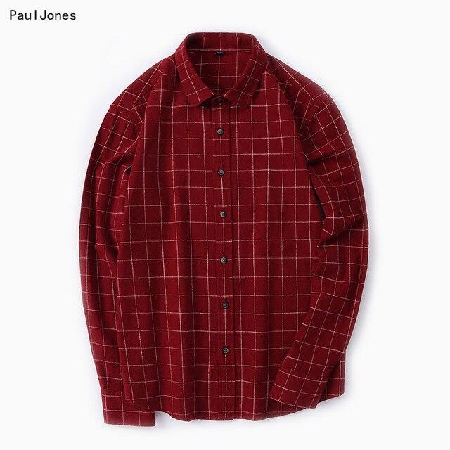 PaulJones À Manches Longues Ponçage Hommes Coton Chemises Slim fit Vintage  Mode de Joker Hommes Loisirs ec68c61559d