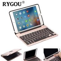RYGOU For IPad Mini4 Aluminum Keyboard Case 7 Colors Backlight Backlit Wireless Bluetooth Keyboard Power Bank