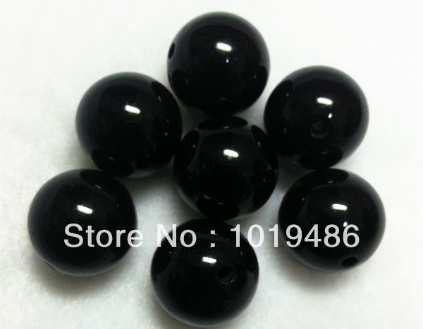 Black Color Large 20MM105pcs/lot Chunky Acrylic Gumball Bubblegum Solid Beads,Colorful Chunky Beads For NecklaceJewelry
