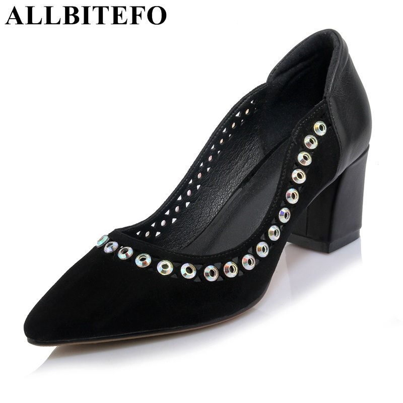 ALLBITEFO thick heel genuine leather pointed toe rivets women pumps fashion brand high heels office ladies shoes spring pumps