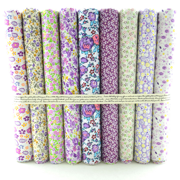 "Cotton Fabric 9 Designs Blandat ""Pretty Purple Floral"" Fat Quarter Bundle Tilda Quilting Scrapbooking Patchwork 50CMx50CM"