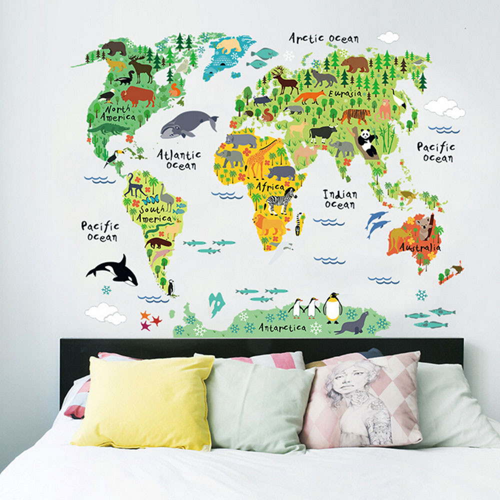 Kakuder colorful animal world map wall stickers for kids rooms kakuder colorful animal world map wall stickers for kids rooms living room home decorations decal mural diy art poster 9573cm in wall stickers from home gumiabroncs Choice Image