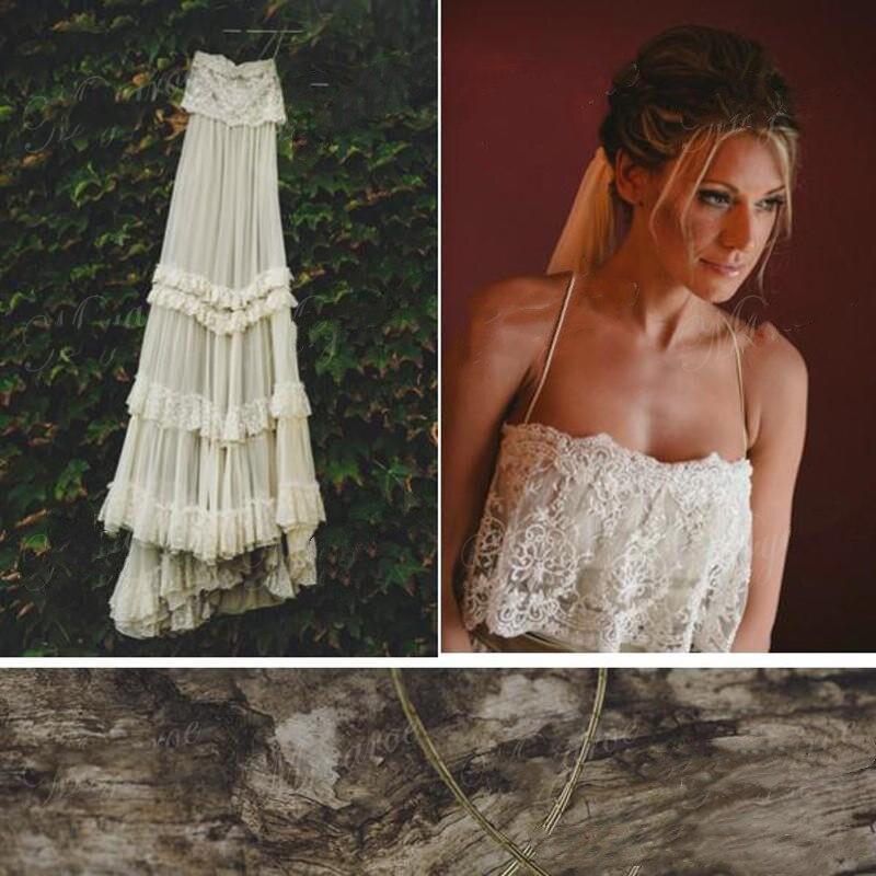 Vintage Hippie Style Boho Beach Wedding Dress 2019 Sexy Spaghetti Straps Tiered Lace Chiffon Backless A Line Gybsy Bridal Gowns