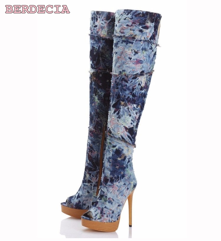 New fashion ladies patchwork denim over-the-knee long boots peep toe thigh high stiletto heel boots platform half zipper shoes sexy women denim thigh high peep toe boots thin high heels zipper ladies over the knee long cowboy botas