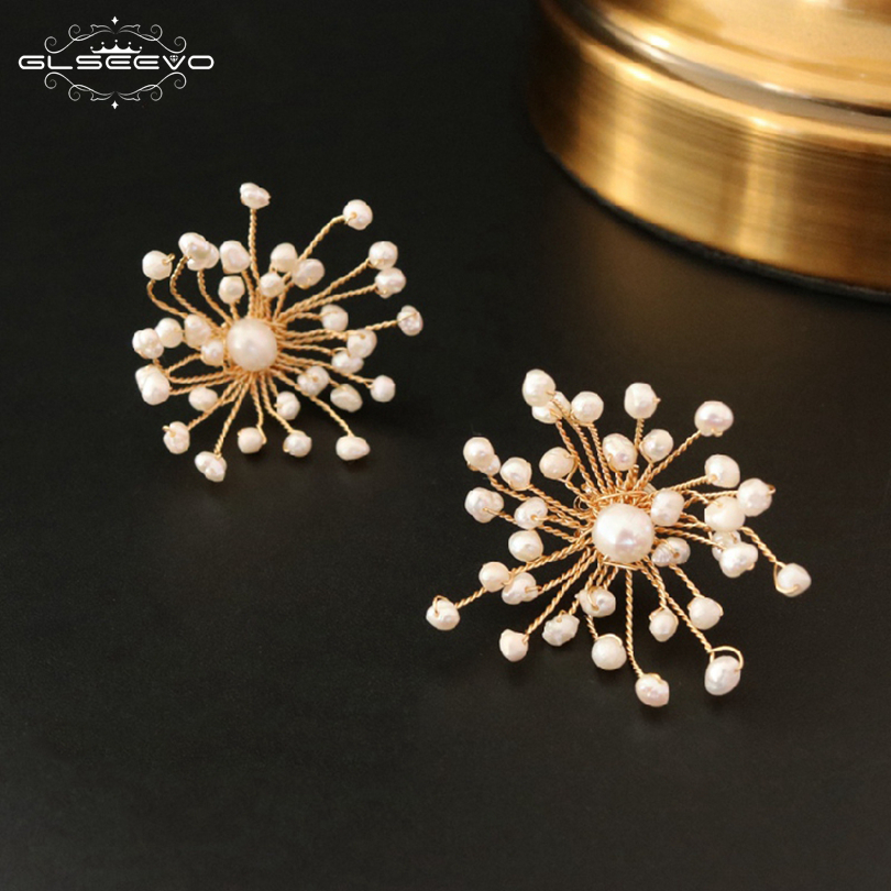 GLSEEVO Natural Fresh Water Pearl Stone Handmade Flower Stud Earring For Women Flower Stud Earrings Luxury Fine Jewelry GE0592 glseevo natural fresh water pearl chokers necklace for women handmade necklaces luxury fine jewelry gargantilha kolye gn0047
