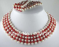 Jewelry 00247 set Hand knit white Pearl Red Coral Necklace Bracelet (A0423)
