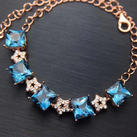Elegant fashion square stars natural blue topaz Bracelet Natural gemstone bracelet S925 silver woman girl party gift jewelry