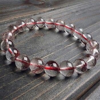 10mm Just One New Hot Women Female Fashion Jewelry Transparent Natural Red Phantom Quartz Ash Volcanic Crystal Bead Bracelet