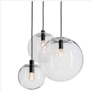 Image 2 - נורדי מודרני מינימליסטי זכוכית כדור תליון מנורת מסעדה יחיד בראש בר תליון אור E27 AC110V 220V 230V