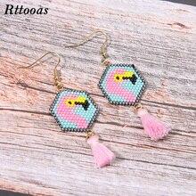 Rttooas Handmade DIY Flamingo Exquisite Tassel Earrings MIYUKI Beads Woven Bracelet for Women Summer Fashion Street Ear Jewelry
