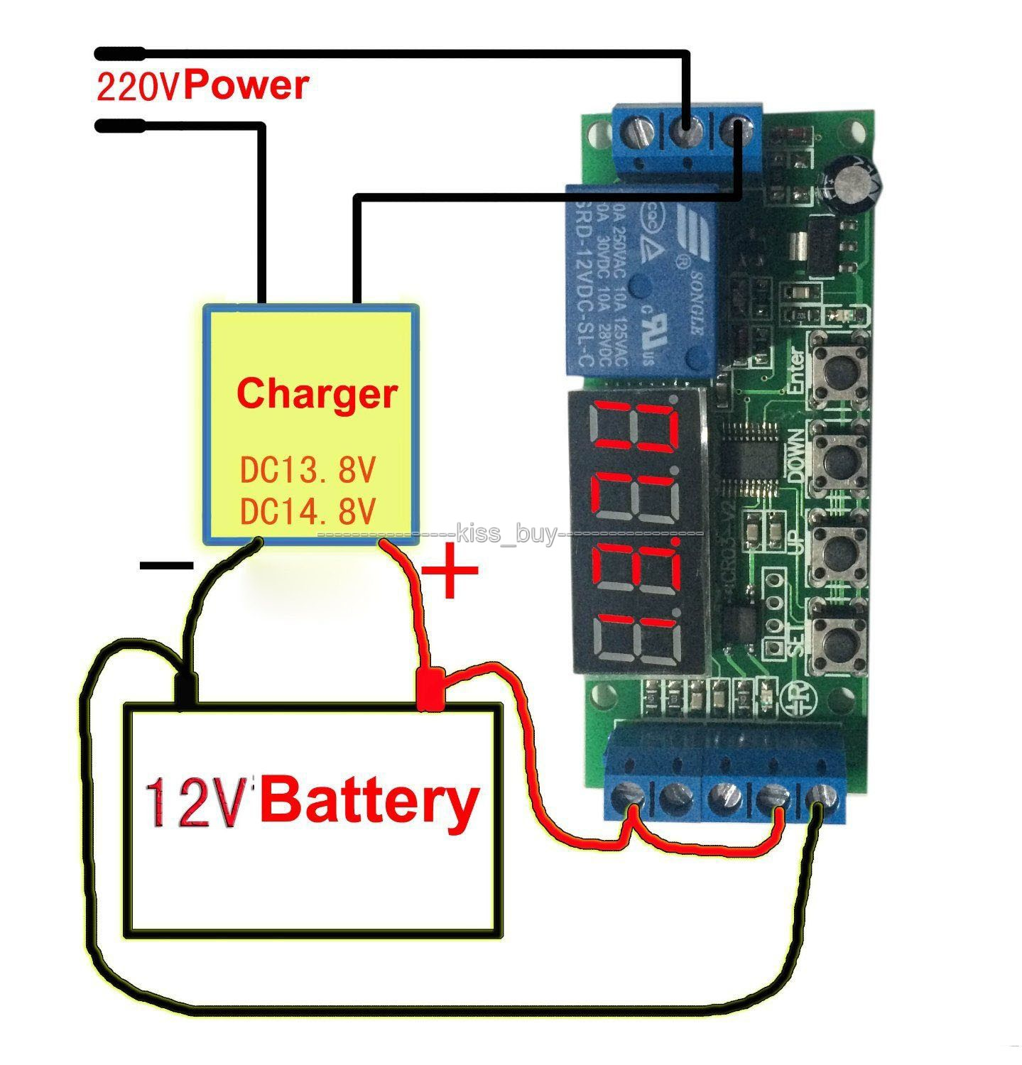 dc 12v Automatic Battery Charger Charging Controller Protection Board LED Display digital for