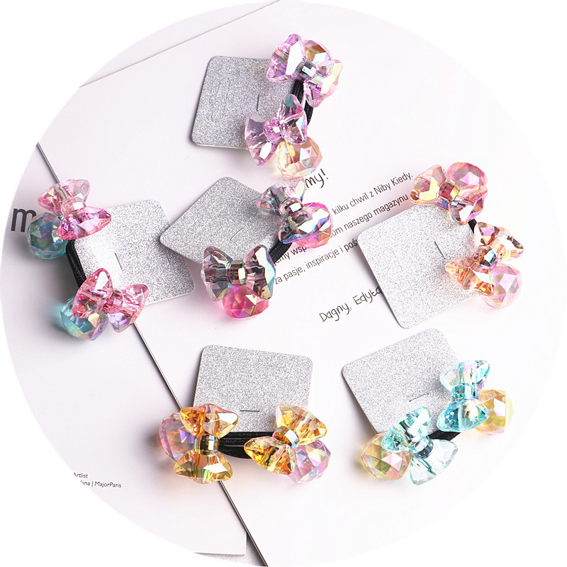 Image 5 - 2018 New 20pcs/lot Children Hair Accessaries acrylic bowknot Blasting beads Balls Hair Bands Elastic Ropes Ties Ponytail HolderHair Accessories   -