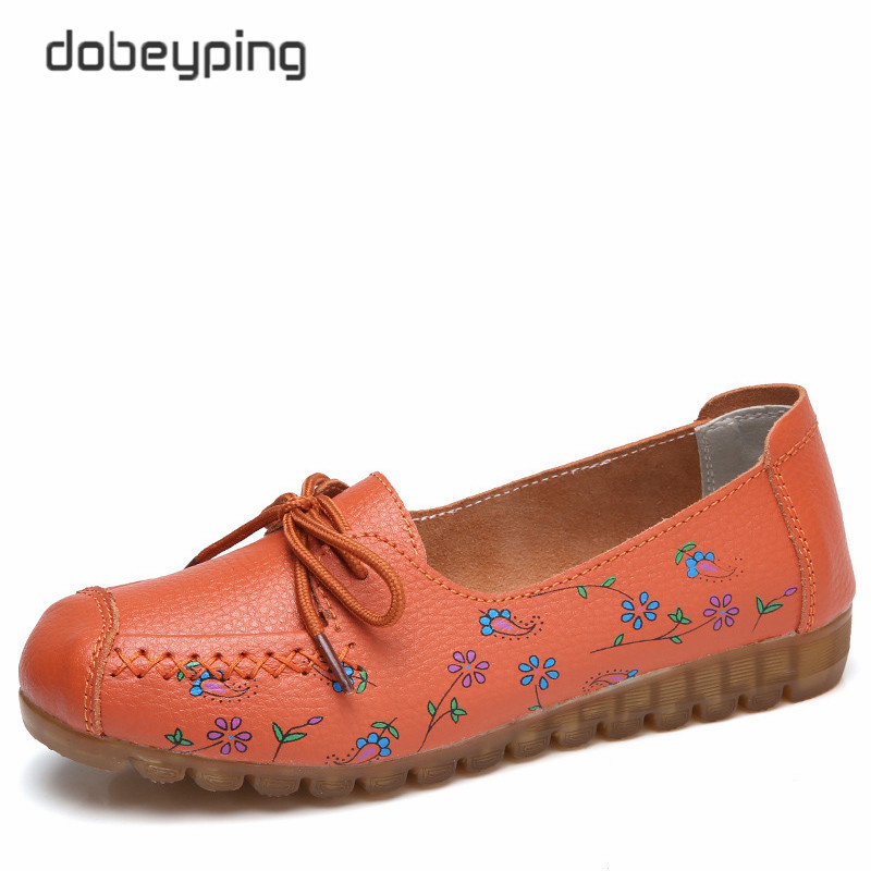 dobeyping 2018 Spring Autumn Shoes Woman Slip On Women Flats Genuine Cow Leather Female Loafers Moccasins Ladies Shoe Size 35-42 2017 autumn new style cow leather women s casual shoes moccasins female flats shoe lace up woman loafers driving shoe size 35 43