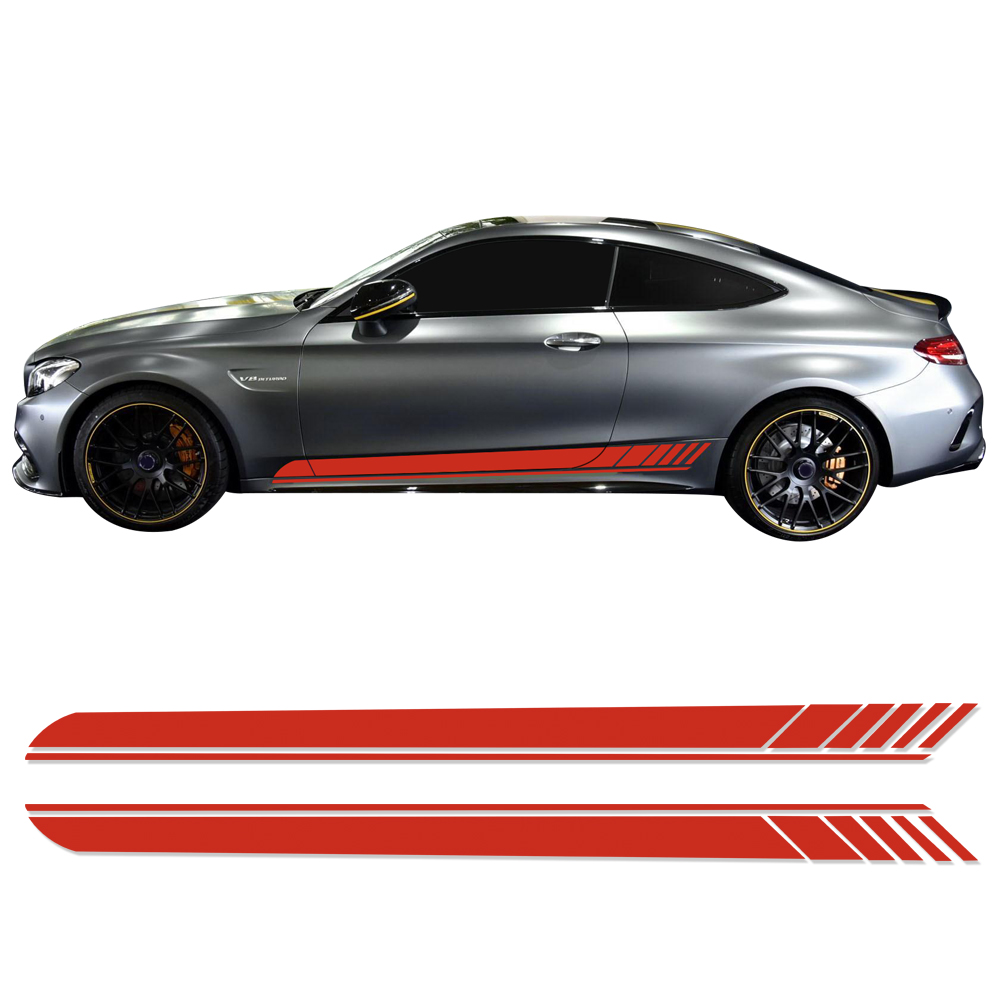 2 Pieces Skirt Sill for Mercedes Benz AMG Edition 1 C63 Coupe W205 Vinly Decal Side Stripes Stickers C200 C250 C300 6 colors in Car Stickers from Automobiles Motorcycles