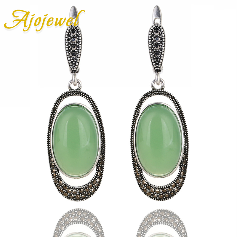 Ajojewel Egg Shaped Stone Green White Opal Earrings For Women Vintage Jewelry For Wedding Party Gifts in Drop Earrings from Jewelry Accessories