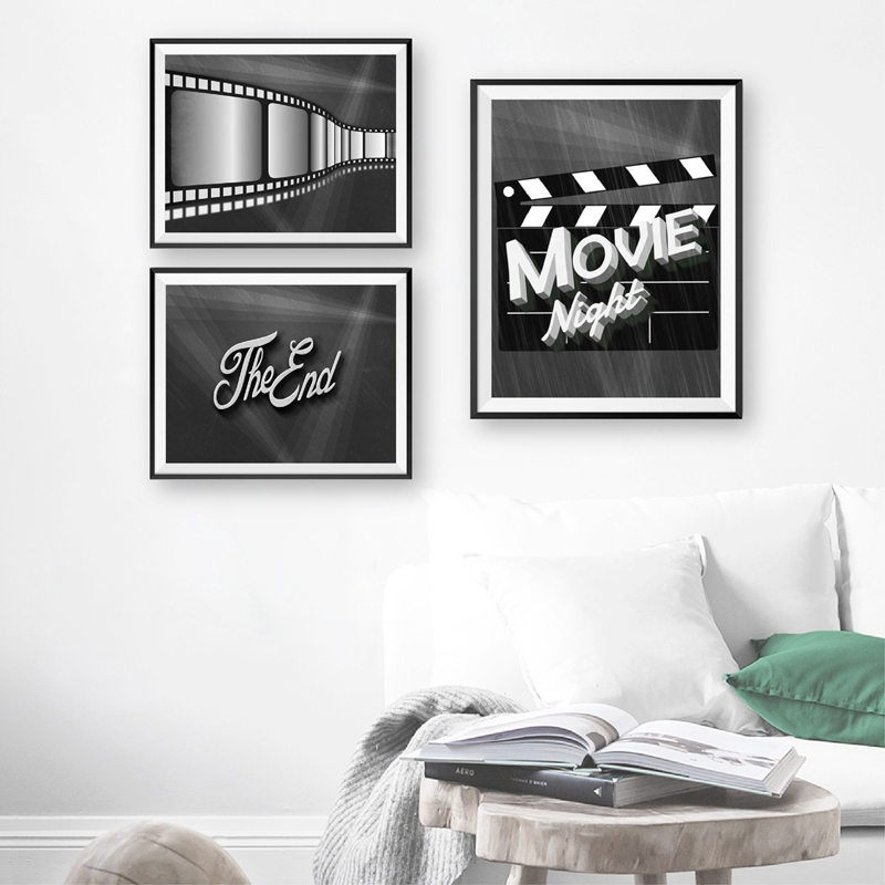 Movie Night Film Posters and Prints Home Theater Decor Movie Lovers Gifts Popcorn Film Noir Cinema illustration Canvas Painting image
