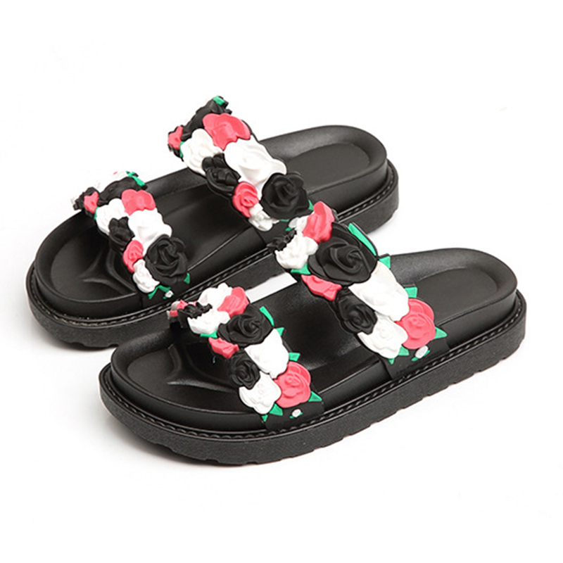 2019 New Flower Decoration Women Slippers Flats with Platform Fashion Slide for Beach and Sea Plain Shoes Dropship