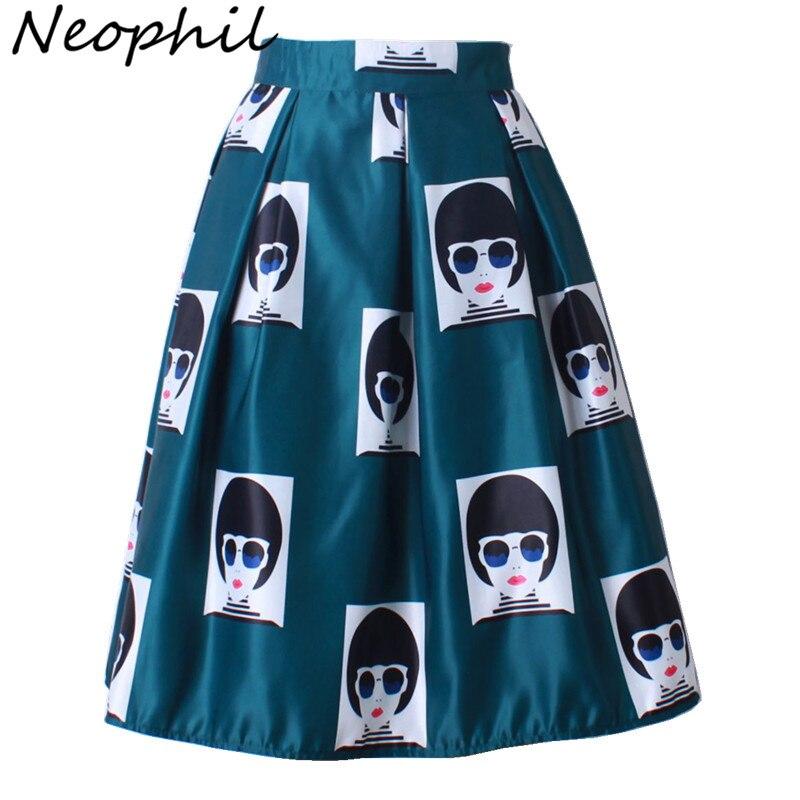 Neophil New Military Girls Portrait Plaid Face Print High Waist Satin Pleated Satin Midi Skirts Women Modern Saia Plissada S0904