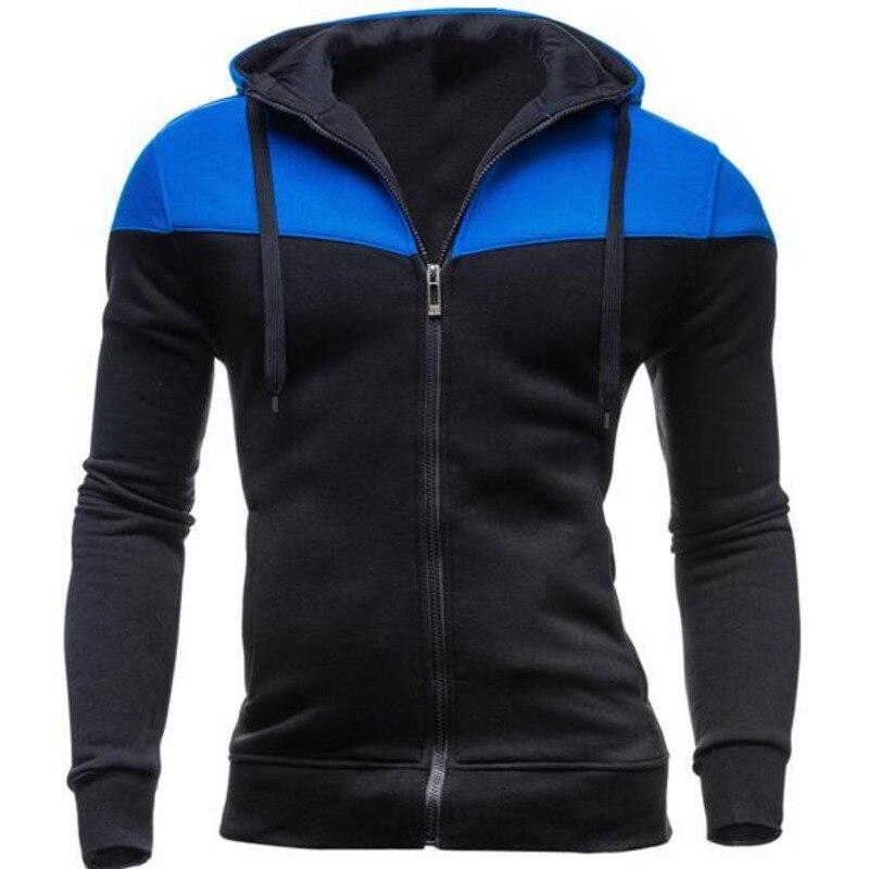 Men Casual Stitching Stripe Hooded cardigan Zipper Hoodie Coat Hoodie mode fashion hoodies