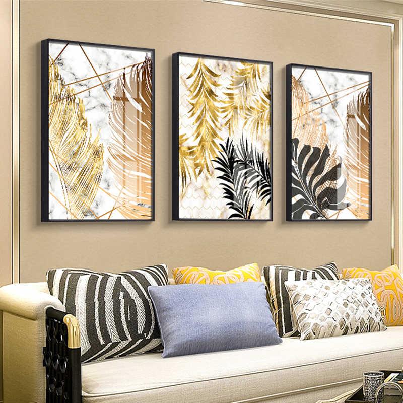 Plantes nordiques feuille d'or toile peinture affiches et impression mur art photos pour salon chambre salle à manger décor moderne