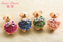 20pcs 4c Fashion Cute Bow Crochet Skirt Teddy Bear Girls Hairpins Solid Kawaii Animal Girls Hair