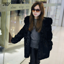 Mother and daughter rabbit fur Hooded coat  fox hooded Luxury Natural Fur Noble Real Coat