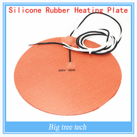 Delta Kossel 3D printer DIY 200 mm round silicon rubber heating plate film mat 220V120W Round Silicone Rubber Heater Mat 200mm