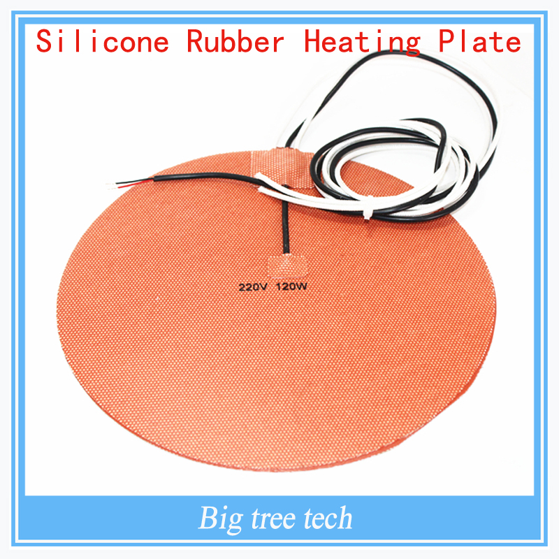 Delta Kossel 3D printer DIY 200 mm round silicon rubber heating plate film mat 220V120W Round Silicone Rubber Heater Mat 200mm funssor 500mm 120v 500w round polyimide film heater bed ntc3950 thermistor for diy delta kossel 3d printer
