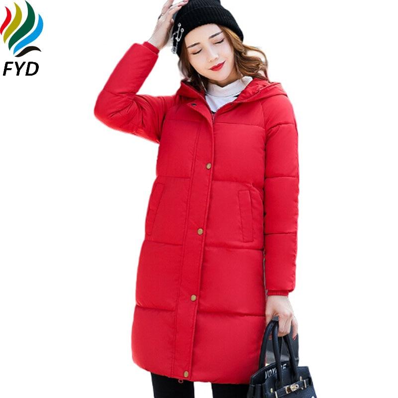 2017 Mid-Long Parkas Female Warm Hooded Pocket Women Winter Coat Thick Cotton Padded Sweet Girls Cold Jacket Outwear M-3XL Z481