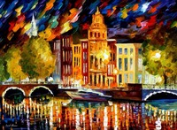 beautiful Painting Home Decor amsterdam autumn reflection Colorful oil paintings Canvas Modern Fine Art High quality Handpainted