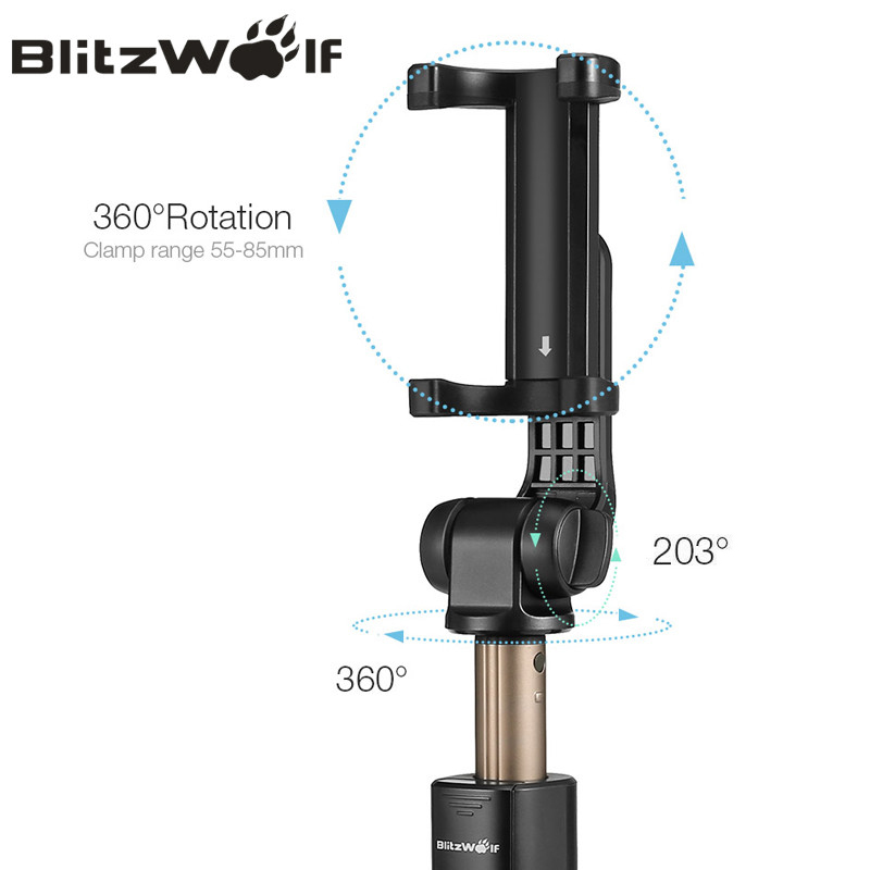 BlitzWolf BS3 Wireless bluetooth Selfie Stick Mini Tripod Extendable Foldable Monopod For iPhone For Samsung Xiaomi Huawei Phone 4