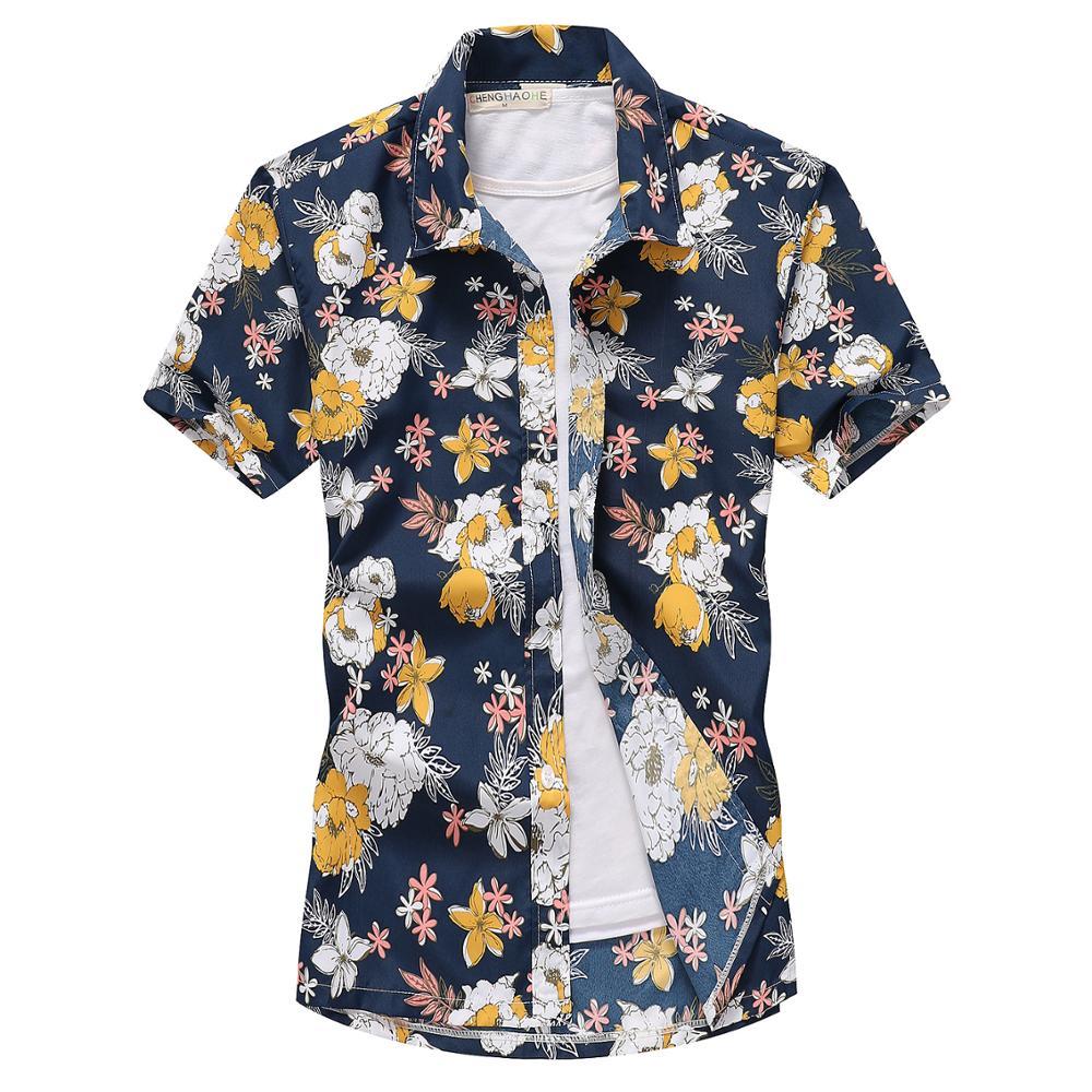 2021 Fashion Mens Short Sleeve Hawaiian Shirt Fast drying Plus Size Asian Size M-5XL Summer Casual Floral Beach Shirts For Men 5