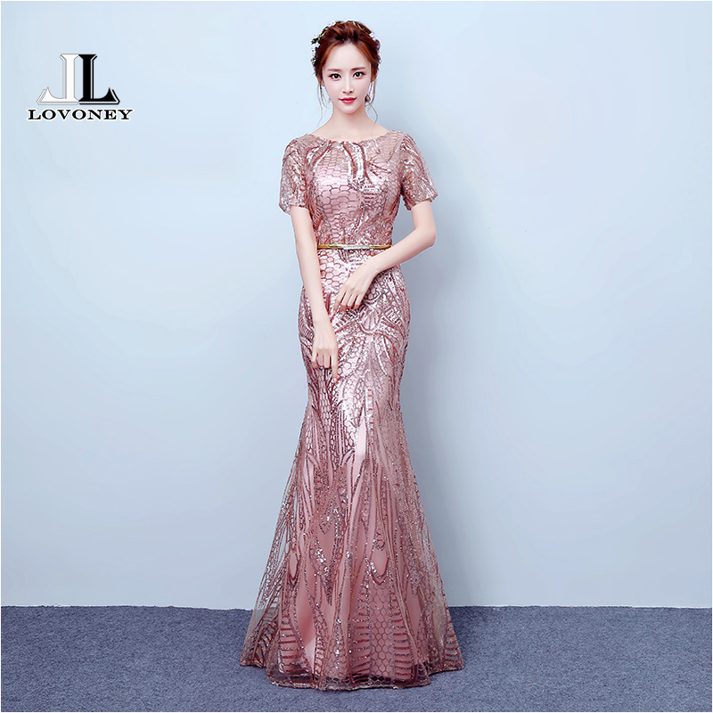 LOVONEY Sexy Mermaid   Evening     Dresses   2019 Short Sleeve Sequin Formal   Dress   Party   Dresses     Evening   Gown Robe De Soiree YLL404