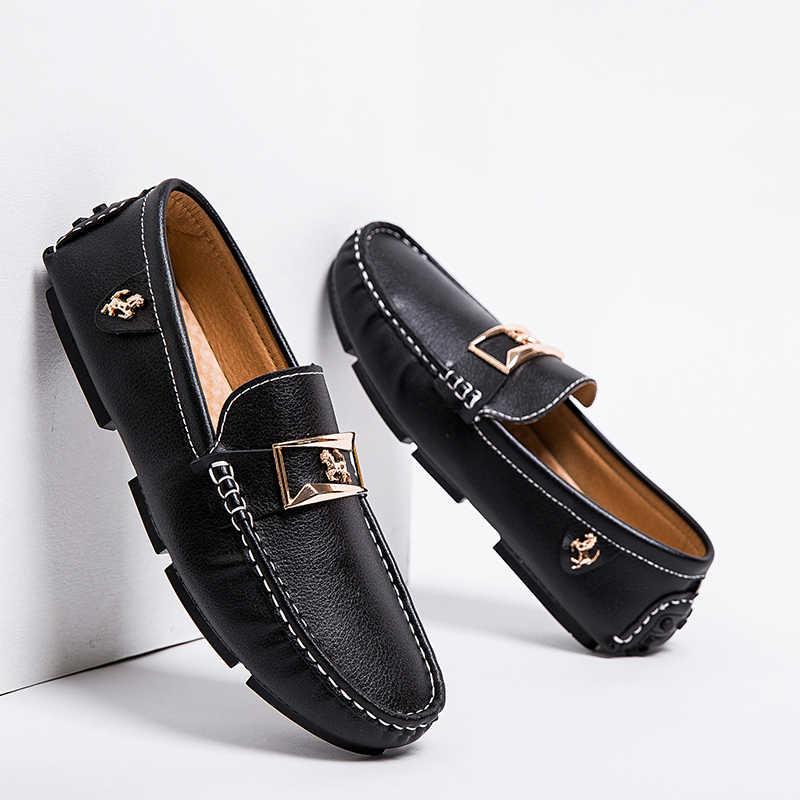 Mannen Loafers Lederen Casual Schoenen Mannen Mocassin Schoeisel Platte Peas Schoenen Rijden Bootschoenen Mannelijke Klassieke Zomer Sapato Masculino