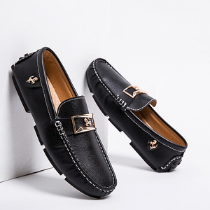 Image 1 - Men Loafers Leather Casual Shoes Men Moccasin Footwear Flat Peas Shoes Driving Boat Shoes Male Classical Summer Sapato Masculino