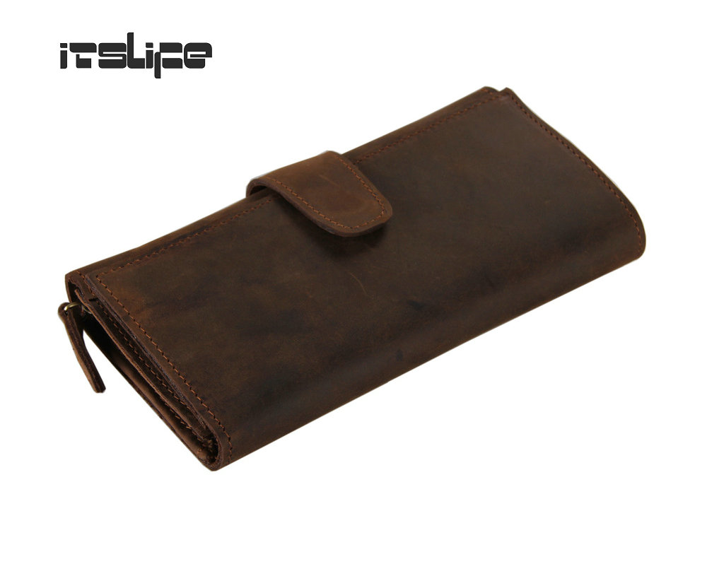 New arrival 100% Genuine crazy horse leather men large capacity wallet card holder clutch long male purse free shipping gathersun brand handmade 2017 original design genuine leather men wallet vintage style large capacity long purse clutch wallet