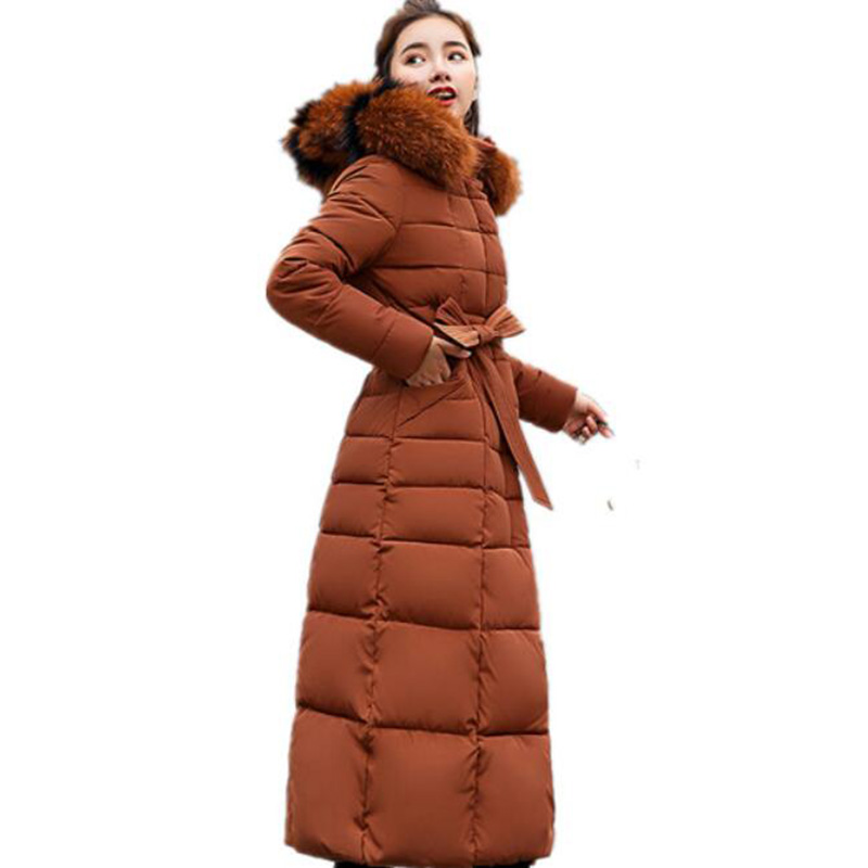 New casual 2018 Slim Winter Jacket Women fur collar cotton coat thick sash Women's down cotton padded jackets Hooded   parka   women