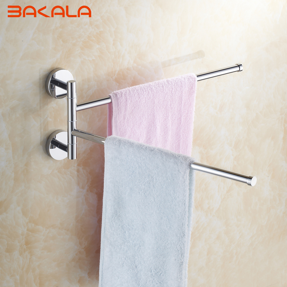 BAKALA Wall Mounted Space Aluminum Double Layer Pallet Hook Bathroom Shelf Bathroom Accessories Towel Bar Towel