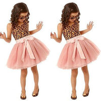 Princess Dress Baby Kids Girls Elegant Leopard Party Ballet Tulle Formal Dress 2 7Y